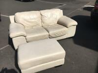 3 Seater and 2 Seater Leather Sofa with Footstool