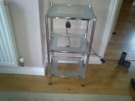 Three tier chrome and glass side table