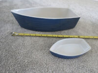 2 x Blue & White Ceramic Boat Dinghy Serving Dishes - A Large and Small