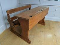 Beautiful solid wood children's antique school desk - 2 seater