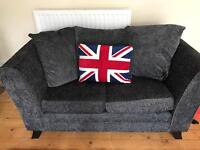2 seater and 3 seater dark blue/ grey sofas