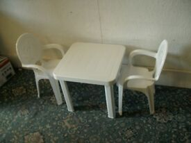Children's White Plastic Chairs and Table ID 981/7/18