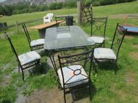 Garden/ Patio Glass Topped Wrought Iron Table and 6 Chairs
