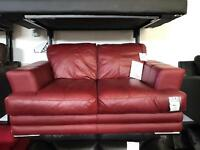 Ex Display red leather DFS sofa