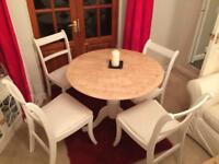 Hand Painted Pine Laura Ashley Ivory Dining Room Table Conservatory Four Chairs