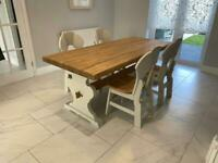 Solid Oak Refectory Dining Table and Chairs