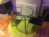 SALMI Glass Dining Table + 2 Chairs