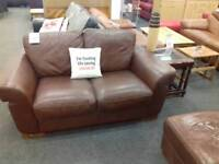 Sofa leather 2 x seater BHF Glasgow