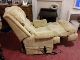 Beige fabric electric recliner chair In great clean working order