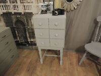 Funky shabby chic tallboy cabinetwith 6 small drawers