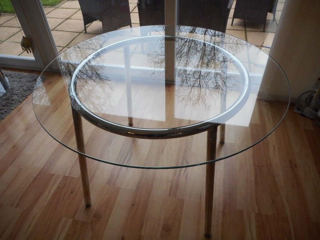 Ikea Round Glass Chrome Dining Table In Salisbury