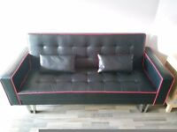Red and Black faux leather sofabed