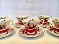 ROYAL ALBERT CHINA TEA SET - FLORAL 12 PIECE CUP AND SAUCER SET, SHABBY CHIC VINTAGE TABLEWARE