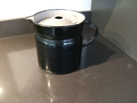 Vintage French Black and Grey Enamel Milk Jug