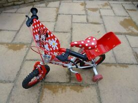 """Girl's Disney Minnie Mouse Bike (12"""" / 30cm wheels) with stablisers and matching helmet"""