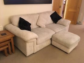 3 seater + 1 seater + footstool with storage. Used condition but no damage. Cushions all washable.