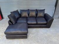 FREE DELIVERY DARK BROWN PLEATHER L-SHAPED CORNER SOFA GREAT CONDITION