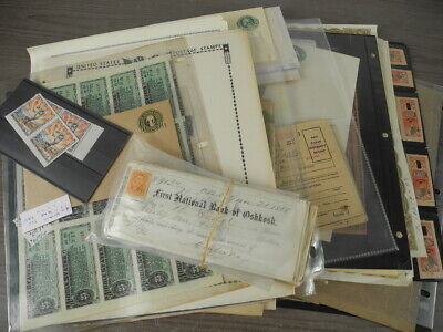 US, Amazing assortment of Revenue Stamps & others in stock pages, pages, others