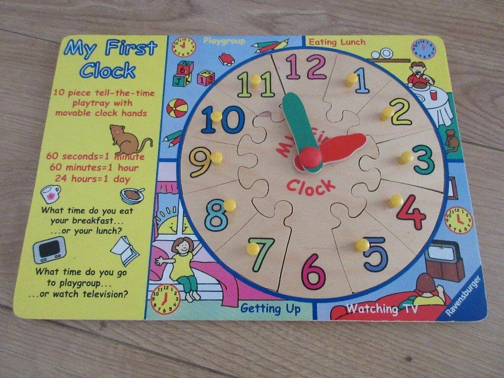 WOODEN CLOCK PUZZLE with moving hands & facts about the time | in St  Mellons, Cardiff | Gumtree