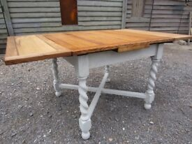 Stunning Oak Barley Twist Extending Draw Leaf Dining Table Painted Farrow & Ball