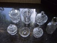Selection of antique glass dressing table ornaments - small pots, vase and ring holder