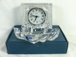 WATERFORD CRYSTAL TABLE CLOCK 4 1/2 x 4 & Maple Leaf Dish 5 3/4