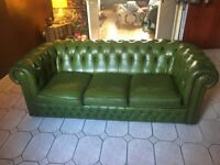 Green leather Chesterfield - 3-seater sofa