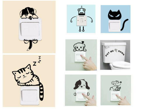 Removable Art Vinyl Vivid DIY Cat Dog Wall Sticker Decal Mural Home Room Switch