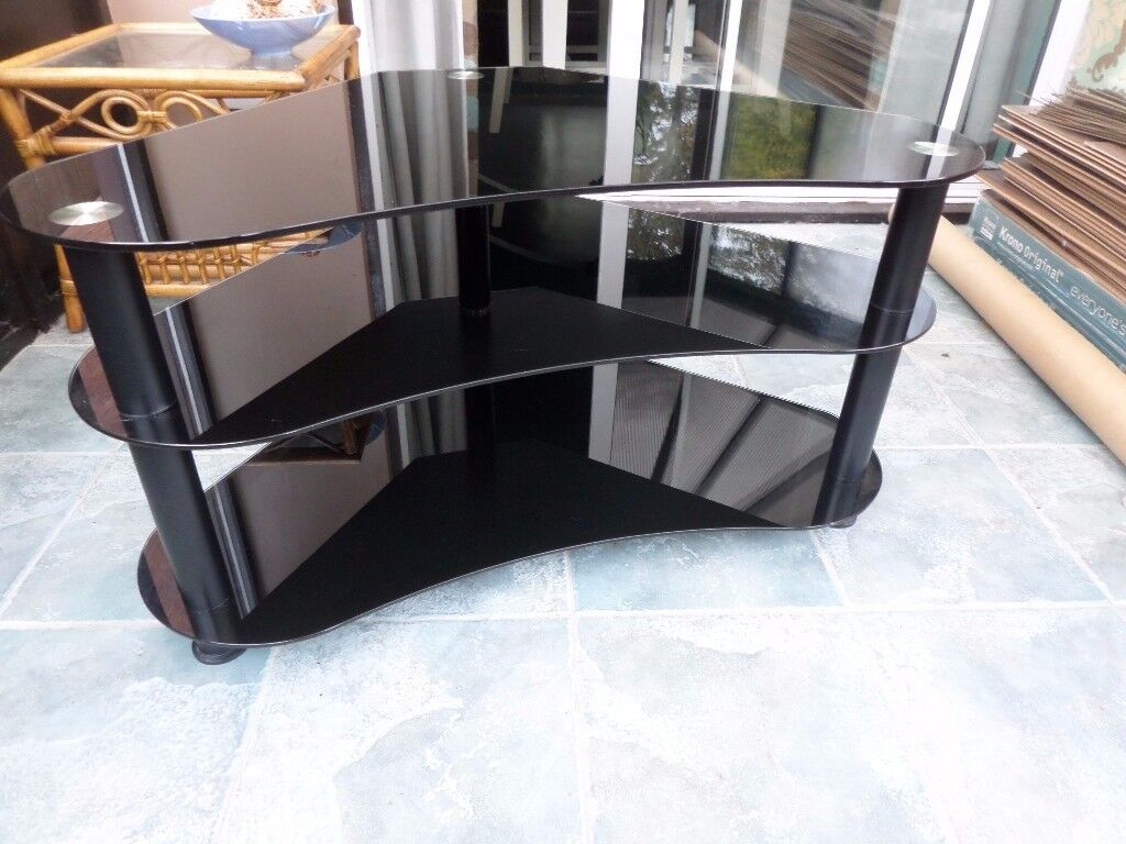 Black Glass 3 Shelf corner Tv stand, excellent condition