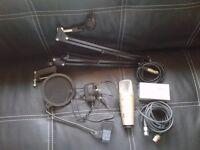 Behringer C-1 Condensor Microphone, Power Supply, Pop Filter, Table Spring Stand + All Cables