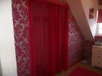 Fuchsia Pink See-thru curtains nets (pair) - Long
