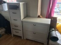 Shabby chic tallboy and chest of drawers