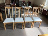 4 cream fabric dinning chairs