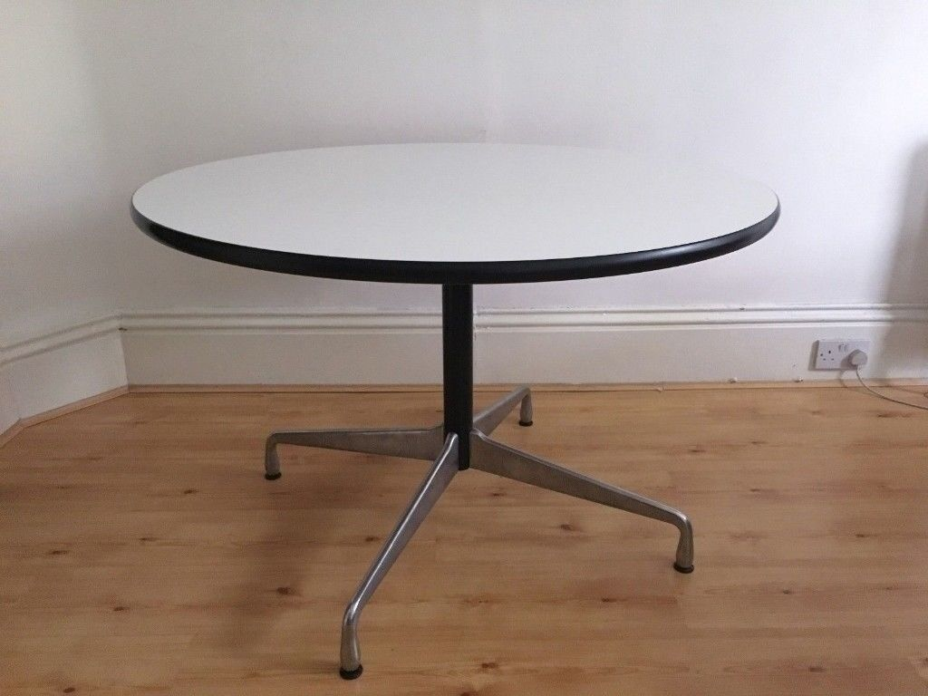 Vitra Charles And Ray Eames Segmented Round Meeting Table 110 Cm White With Chrome Legs