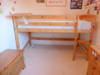 Pine Mid Sleeper Cabin Bed & Mattress