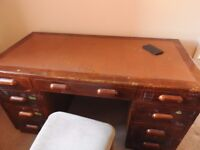 Desk. Genuine mid 20th century, real wood, leather topped. Great for auction or up cycle.