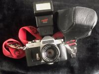 Chinon CX SLR Camera with Case and flash