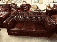 Stunning vintage oxblood leather chesterfield 3 seater sofa Uk delivery