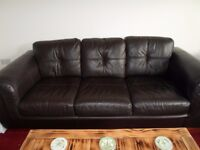BROWN LEATHER 3 SEATER AND CHAIR