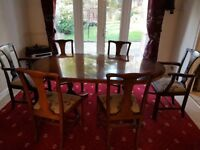 Solid wood extending dining table and 6 chairs