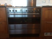 Smeg silver 5 burner dual fuel range cooker