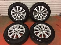 "15"" GENUINE VW MK6 GOLF BLUEMOTION ALLOY WHEELS AND TYRES 5x122 MK5 MK7 CADDY PASSAT JETTA"