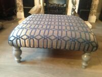 bespoke newly upholstered footstool in silver and blue