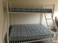 White metal double and single bunk bed as New.