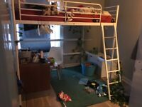 Double loft bed white metal IKEA