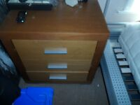 BEDROOM SET OF THREE DRAWS ONE BIG TABLE DRESSER WITH DRAWS & TWO SMALL CHEST