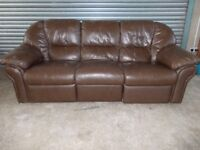 Large Brown Leather 3-seater Sofa (Suite) with matching Recliner Armchair