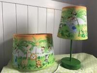 Children's safari jungle themed bedroom lamp, ceiling shade and free single duvet cover