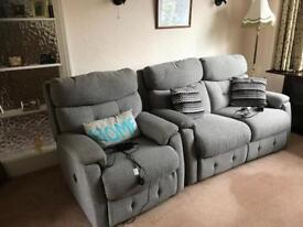 Power assisted reclining sofa and chair. Location Poynton. Buyer collects.