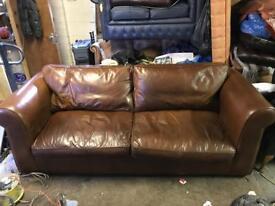 Tetrad semi aniline leather 3 seater sofa.